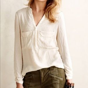 Anthropologie Maeve Mainstay Cream Henley Top